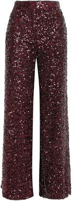 Victoria Victoria Beckham Sequined Woven Wide-leg Pants