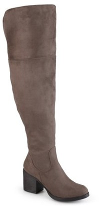 Brinley Co. Women's Round Toe Faux Suede Tall Wide Calf Boots