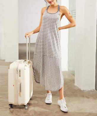 Simple By Suzanne Betro Simple by Suzanne Betro Women's Casual Dresses 101GREY/WHITE - Gray & White Stripe Pocket Midi Sleeveless Dress - Women & Plus