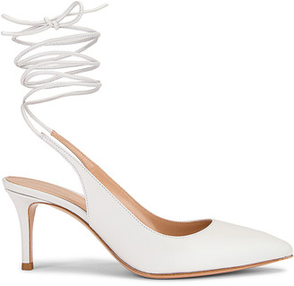 Gianvito Rossi Strappy Kitten Heel Pumps in White | FWRD