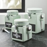Crate & Barrel Pistachio Clamp Canisters with Chalkboard