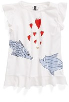 Armani Junior Girl's Kissing Fish Ruffled Tee
