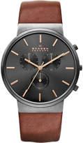 Skagen Ancher chronograph leather watch
