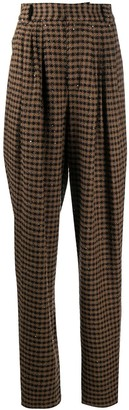 Alessandra Rich Check High-Rise Tailored Trousers
