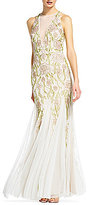 Adrianna Papell Beaded Halter Neck Long Gown