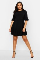 boohoo Plus Ruffle Hem Woven Shift Dress