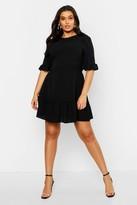 boohoo Plus Ruffle Hem Woven Shift Dress