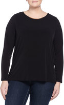 MICHAEL Michael Kors Long-Sleeve Draped Cowl-Back Top, Black, Women's