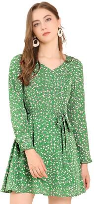 Allegra K Women's Floral Print V Neck Casual A-Line Dress with Belt 8 Green