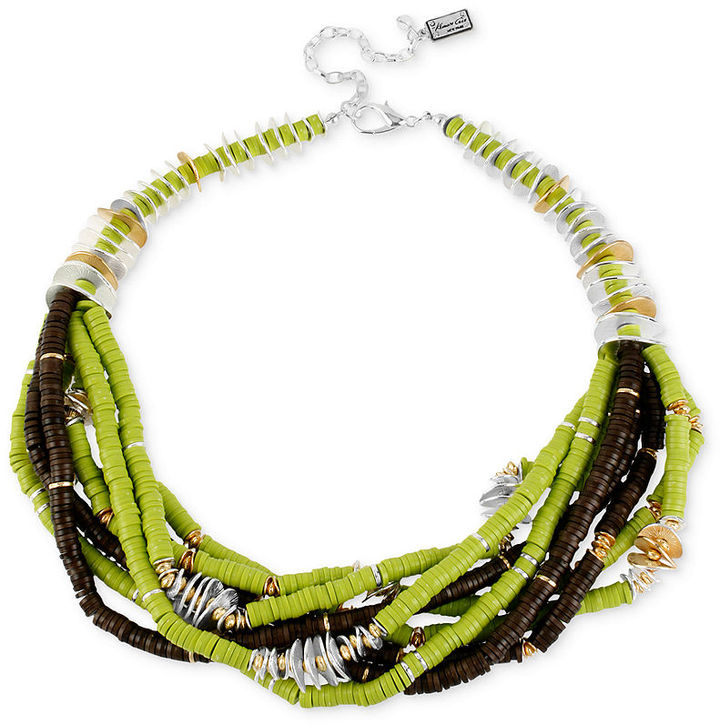Kenneth Cole New York Necklace, Silver-Tone with Lime Multi Bead Torsade Necklace