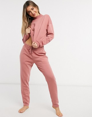 Chelsea Peers organic cotton light weight lounge trackies in mauve