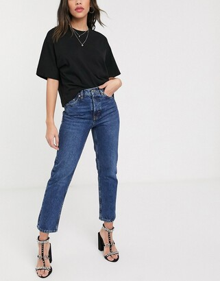 Topshop Editor straight leg jeans in bright mid wash