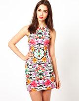 A/Wear A Wear Tropical Print Body-Conscious Dress
