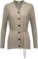 Brunello Cucinelli Bead-embellished metallic cashmere-blend cardigan