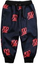 Pink Queen® Unisex Stylish 100 Points Emoji Print Jogging Capri Sweatpants M