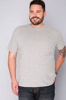 Yours Clothing BadRhino Light Grey Marl Basic Plain Crew Neck T-Shirt
