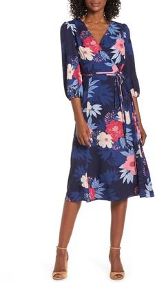Brinker & Eliza Floral Print Faux Wrap Midi Dress