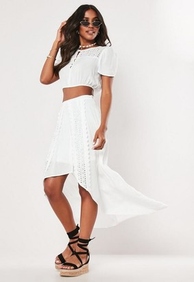 Missguided White Co Ord Lace Panel Asymmetric Midi Skirt