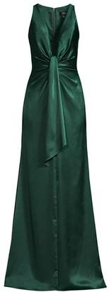 Aidan Mattox Liquid Satin Front Slip Drape Column Gown