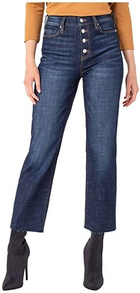 Liverpool Button Front Crop Straight Jeans with Cut Hem in Gleason (Gleason) Women's Jeans