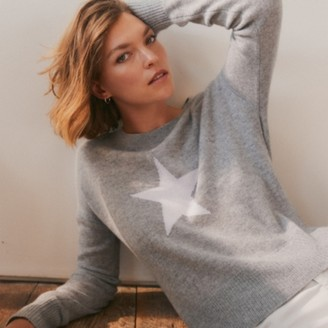 The White Company Cashmere Star Jumper, Mid Grey Marl, Extra Small
