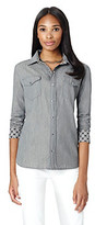 Jones New York Signature Buttonfront Chambray Blouse With Printed Lining