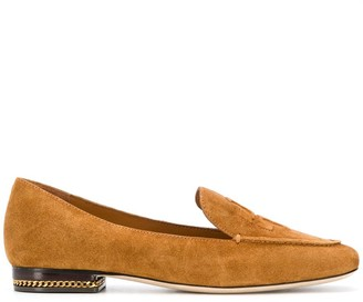 Tory Burch Ruby embossed logo suede loafers