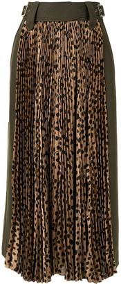 Sacai Animal Print Pleated Midi Skirt