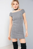 Silence & Noise Silence + Noise Ribbed Off-The-Shoulder Bodycon Mini Dress