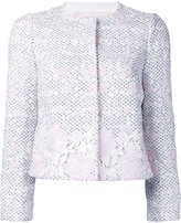 Giambattista Valli rose embroidered jacket - women - Cotton/Polyamide/Polyester - 38