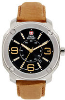 Swiss Military Escort Stainless Steel and Suede Watch