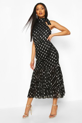 boohoo Foil Polka Dot Chiffon Midaxi Dress