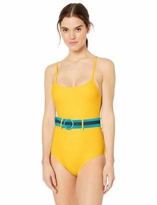 Jessica Simpson Womens Contrast Panel One-Piece Swimsuit