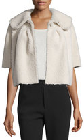 Co Cropped Short-Sleeve Shearling Fur Jacket, Ivory