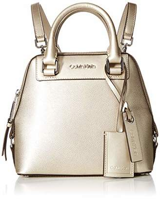 Calvin Klein Clara Stucco Leather Small Zip Around Backpack