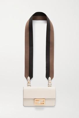 Fendi Baguette Canvas-trimmed Leather Shoulder Bag - White