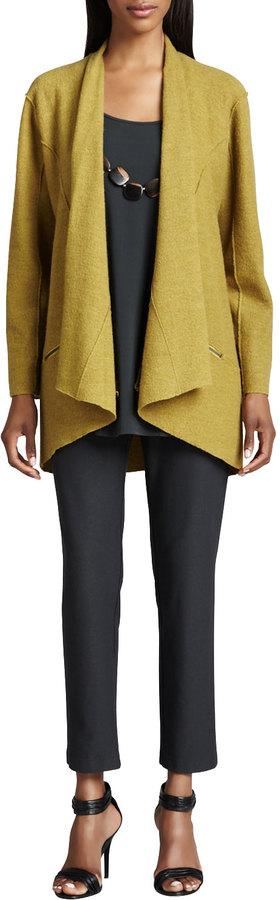 Eileen Fisher Lightweight Boiled Wool Jacket, Silk Jersey Long Tunic & Crepe Slim Ankle Pants