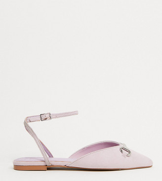ASOS DESIGN Wide Fit Laugh pointed ballet flats in lilac
