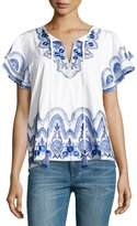 Parker Janis Embroidered Poplin Top, White