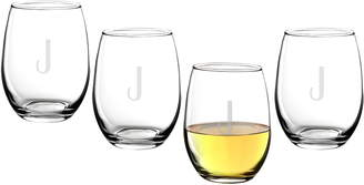 Cathy's Concepts Estate Collection Set of 4 Monogram Stemless Wine Glasses