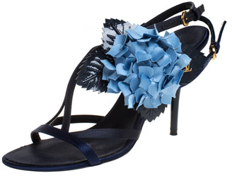 Louis Vuitton Blue Floral Applique Satin Slingback Strap Sandals Size 38.5
