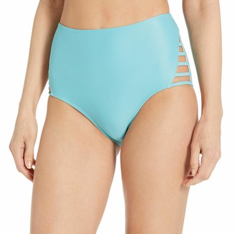 Mae Amazon Brand Women's Swimwear Strappy High Waist Cheeky Bikini Bottom