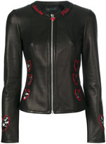 Philipp Plein heart embroidered biker jacket - women - Lamb Skin/Polyester - XS