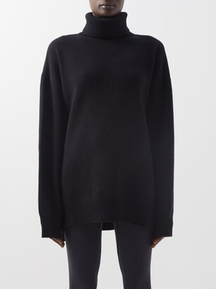 Raey Displaced-sleeve Roll-neck Wool Sweater - Black