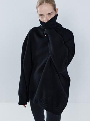 Raey Displaced-sleeve Roll-neck Wool Sweater - Womens - Black