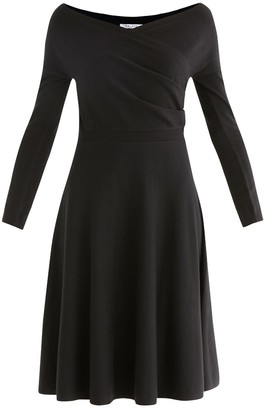 Paisie Cara Knitted Wrap Dress In Black