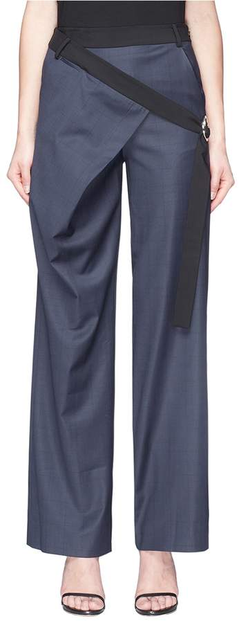 Dion Lee Belted angled drape panel check wide leg pants