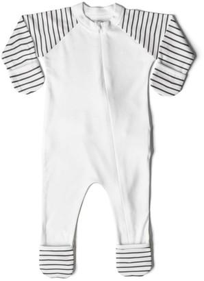 Goumikids Goumi Baby Classic Stripe Organic Cotton One Piece Pajamas - /Black
