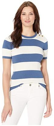 Lauren Ralph Lauren Striped Button-Trim Sweater (Pottery Blue/Mascarpone Cream) Women's Sweater