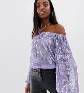 Bardot Asos Tall ASOS DESIGN Tall festival sequin body in lilac purple